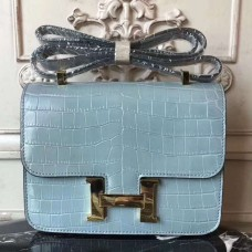 Hermes Blue Lin Constance MM 24cm Crocodile Bag