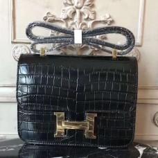 Hermes Black Constance MM 24cm Crocodile Bag