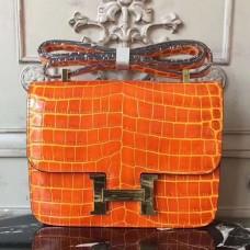 Hermes Orange Constance MM 24cm Crocodile Bag