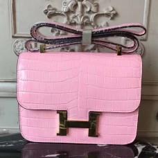 Hermes Pink Constance MM 24cm Crocodile Bag