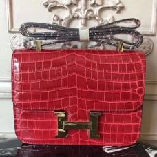 Hermes Red Constance MM 24cm Crocodile Bag