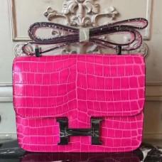 Hermes Rose Red Constance MM 24cm Crocodile Bag
