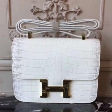 Hermes White Constance MM 24cm Crocodile Bag