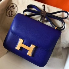 Hermes Mini Constance 18cm Epsom Blue Electric Bag