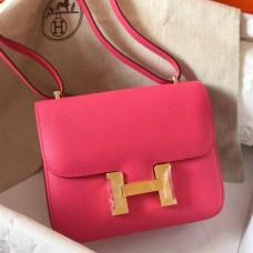 Hermes Mini Constance 18cm Rose Lipstick Epsom Bag