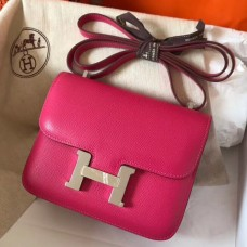 Hermes Mini Constance 18cm Rose Red Epsom Bag