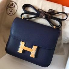 Hermes Mini Constance 18cm Sapphire Epsom Bag