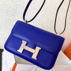 Hermes Epsom Constance 24cm Blue Electric Handmade Bag