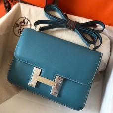 Hermes Epsom Constance 24cm Blue Jean Handmade Bag