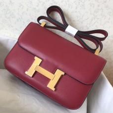 Hermes Epsom Constance 24cm Dark Red Handmade Bag