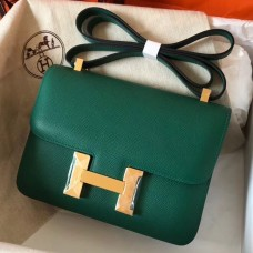 Hermes Epsom Constance 24cm Malachite Handmade Bag