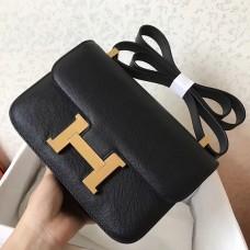 Hermes Epsom Constance 24cm Black Handmade Bag