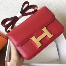 Hermes Epsom Constance 24cm Red Handmade Bag