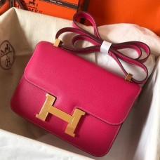 Hermes Epsom Constance 24cm Rose Red Handmade Bag