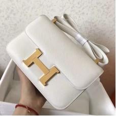 Hermes Epsom Constance 24cm White Handmade Bag