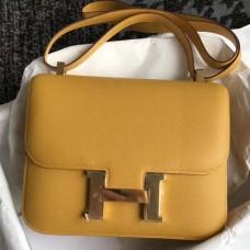 Hermes Epsom Constance 24cm Jaune Handmade Bag