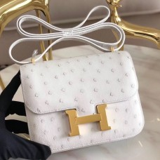 Hermes Mini Constance 18cm White Ostrich Leather