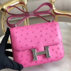 Hermes Mini Constance 18cm Pink Ostrich Leather
