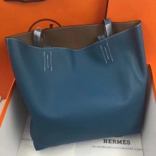 Hermes Double Sens 45cm Tote In Blue/Etoupe Leather