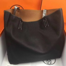 Hermes Double Sens 45cm Tote In Black/Brown Leather