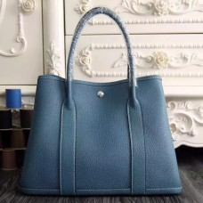 Hermes Small Garden Party 30cm Tote In Jean Blue Leather