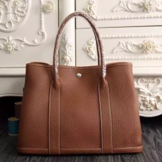 Hermes Small Garden Party 30cm Tote In Brown Leather