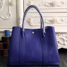 Hermes Small Garden Party 30cm Tote In Electric Blue Leather