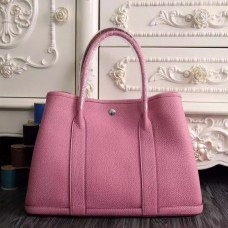 Hermes Small Garden Party 30cm Tote In Pink Leather