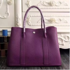 Hermes Small Garden Party 30cm Tote In Purple Leather