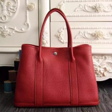 Hermes Small Garden Party 30cm Tote In Red Leather