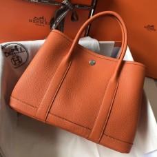 Hermes Orange Clemence Garden Party 30cm Handmade Bag