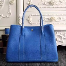 Hermes Medium Garden Party 36cm Tote In Blue Leather