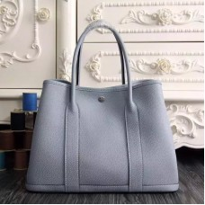 Hermes Medium Garden Party 36cm Tote In Blue Lin Leather