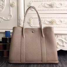 Hermes Medium Garden Party 36cm Tote In Grey Leather