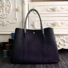 Hermes Medium Garden Party 36cm Tote In Black Leather