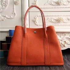 Hermes Medium Garden Party 36cm Tote In Orange Leather