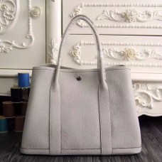 Hermes Medium Garden Party 36cm Tote In White Leather