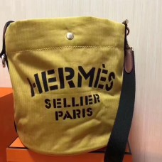 Hermes Grooming Bucket Bag In Yellow Canvas