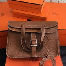 Hermes Halzan Bag In Brown Clemence Leather