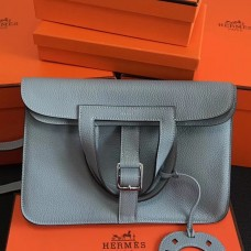 Hermes Halzan Bag In Blue Lin Clemence Leather