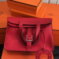 Hermes Halzan Bag In Red Clemence Leather
