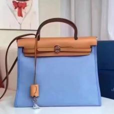 Hermes Herbag Zip PM 31cm Bag In Celeste Canvas
