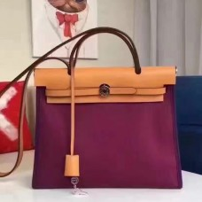 Hermes Herbag Zip PM 31cm Bag In Fuchsia Canvas