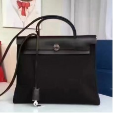 Hermes Herbag Zip PM 31cm Bag In Black Canvas