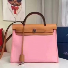 Hermes Herbag Zip PM 31cm Bag In Pink Canvas