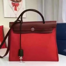 Hermes Herbag Zip PM 31cm Bag In Red Canvas
