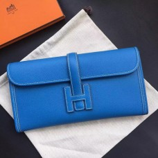 Hermes Jige Elan 29 Clutch Bag In Blue Epsom Leather