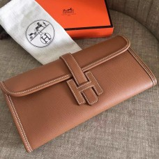 Hermes Jige Elan 29 Clutch Bag In Brown Epsom Leather