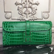 Hermes Jige Elan 29 Clutch In Bambou Crocodile Leather