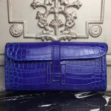 Hermes Jige Elan 29 Clutch In Blue Electric Crocodile Leather